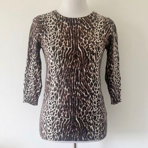J.CREW ANIMAL PRINT SHORT SLEEVE SWEATER SMALL